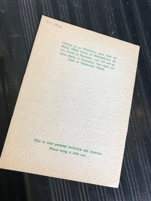 """""""Fourth Annual Thanksgiving Eve Service by Alcoholics Anonymous, Birmingham Community House. . . """" [printed program]."""