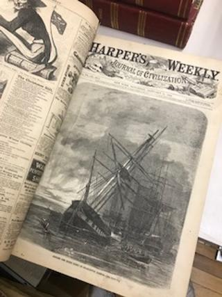 HARPER'S WEEKLY, Journal of Civilization, Vol IV No. 158 (January 7, 1860) through Vol. IX No. 470 (December 30, 1865- only one leaf) [six bound volumes of Harper's Weekly, Civil War era].