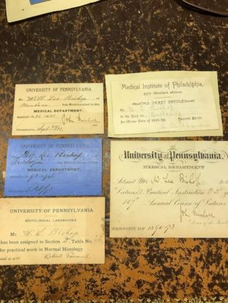 Group of medical lecture tickets from the University of Pennsylvania Medical School and one from the Medical Institute of Philadelphia belonging to William Lee Bishop of Butte, Montana
