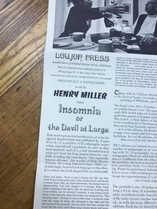 Broadside Prospectus for the Loujon Press publication of Henry Miller's INSOMNIA OR THE DEVIL AT LARGE