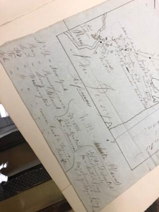 ORIGINAL HAND-DRAWN MAP OF THE BATTLES OF FLATBUSH, WHITE PLAINS, TRENTON AND PRNICETON