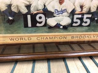 Framed die-cut display from Schaefer Brewing of the 1955 World Champion Brooklyn Dodgers