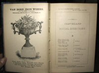 THE CLEVELAND SOCIAL DIRECTORY, Or Ladies' Visiting Lists and Shopping Guide, including families in Akron, Elyria, Painesville, Warren and Youngstown, which exchange with Cleveland. Season of 1885 and '86.