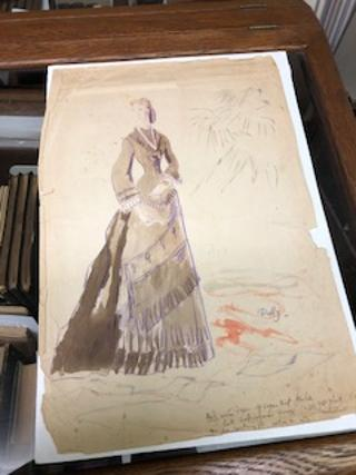 ORIGINAL COSTUME DESIGN SKETCH SIGNED BY CECIL BEATON, FOR THE MOVIE ANNA KARENINA. Cecil Beaton
