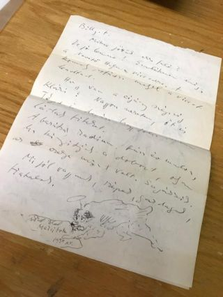 AUTOGRAPH LETTER WITH ORIGINAL ILLUSTRATIONS FROM ARTIST MARCEL VERTES, 1950. Marcel Vertes