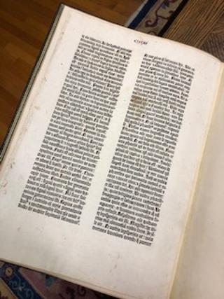 AN ORGINAL LEAF FROM THE 1455 GUTENBERG BIBLE, Luke Chapters 11-12