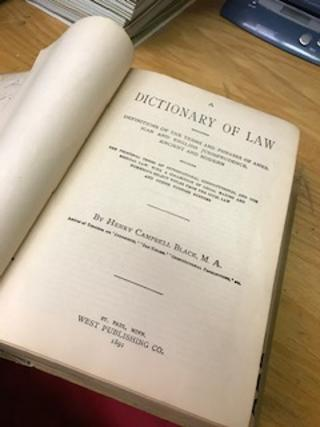 A DICTIONARY OF LAW [Black's Law Dictionary, First Edition]